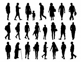 foto of street-walker  - big set of black silhouettes of men and women of different ages walking in the street front profile and back views - JPG