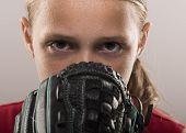 Girl softball player with mitt poster