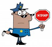 foto of sherif  - Black Police Officer Holding A Stop Sign And Club - JPG
