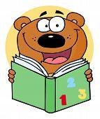 pic of reading book  - School Bear Reading A Green Math Book - JPG