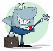 stock photo of loan-shark  - Business shark waving a greeting in front of a green background - JPG