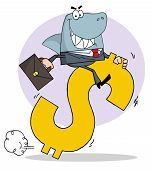 pic of loan-shark  - Successful Business Shark Businessman Riding On A Dollar Symbol - JPG