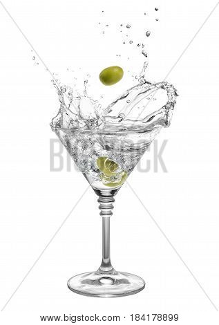 poster of martini in glass with splashes and olives isolated on white background. Green olive is falling in the alcohol cocktail. Splash of martini from the falling olives