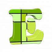 letter e in mondrian style poster