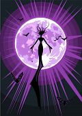 Illustration of a flying witch on full moon background