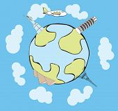 Vector airplane traveling around the globe, with stylized landmarks poster