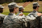 Group of military soldiers standing in boot camp poster