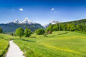 Idyllic Summer Landscape In The Alps, Nationalpark Berchtesgadener Land, Bavaria, Germany poster
