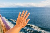 Woman showing new wedding ring hand on newlyweds honeymoon cruise travel taking selfie on holidays.  poster