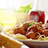 image of italian food  - hearty spaghetti dinner - JPG