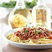 stock photo of italian food  - Italian spaghetti dinner - JPG