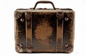 picture of old suitcase  - Old brown suitcase for travel white background - JPG
