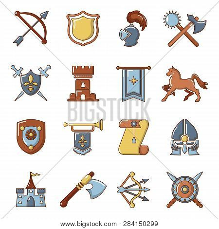 Knight Medieval Icons Set Cartoon