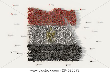 poster of Large Group Of People Forming Egypt Map And National Flag In Social Media And Communication Concept