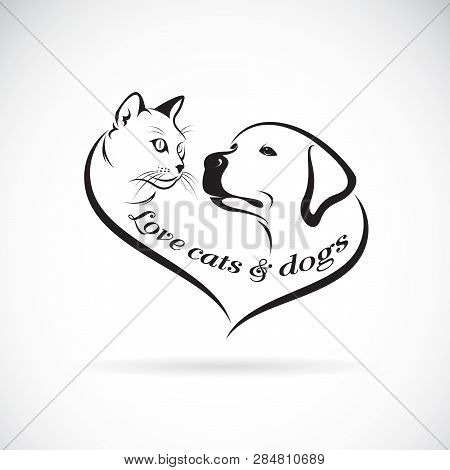 poster of Vector Of A Dog Head(labrador Retriever) And Cat Head Design On White Background. Cat And Dog Logo O