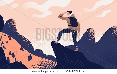 poster of Man With Backpack, Traveller Or Explorer Standing On Top Of Mountain Or Cliff And Looking On Valley.