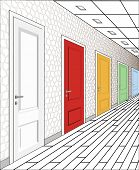 Interior Of Multi-colored Doors On A White Background. Illustration Of A Long Corridor. Concept Of I poster