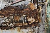 Layers Of Different Colors On Rusty Metal, Metal Corroded Texture, Rusty Metal Background poster