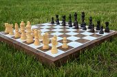 Chess Board With Chess Pieces On Green Grass In Daylight. Selective Focus On White Pieces. Outdoors  poster