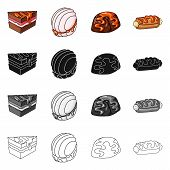 Vector Illustration Of Confectionery And Culinary Sign. Collection Of Confectionery And Product Stoc poster