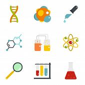 Chemical Icon Set. Flat Style Set Of 9 Chemical Icons For Web Isolated On White Background poster