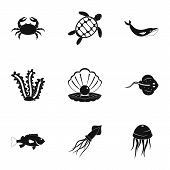 Underwater Animal Stickers Icons Set. Simple Set Of 9 Underwater Animal Stickers Icons For Web Isola poster