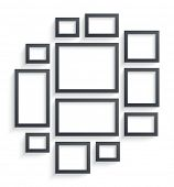 Wall picture frame templates isolated on white background. Blank photo frames with shadow and border poster