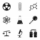 Chemical Icon Set. Simple Style Set Of 9 Chemical Icons For Web Isolated On White Background poster