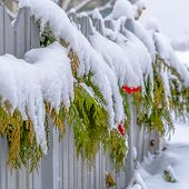 Snow Covered Garland On A Fence In Daybreak Utah poster