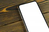 Smartphone With Blank Screen Mock Up. Smartphone Isolated Screen. Mobile Phone White Screen With Cop poster