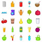 Heavy Drinking Icons Set. Cartoon Set Of 25 Heavy Drinking Icons For Web Isolated On White Backgroun poster
