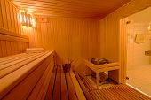 Sauna Room Interior As Background, Spa Room. Relax In A Hot Sauna, Finland-style Classic Wooden Saun poster