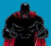 Silhouette Illustration Of Raging Superhero With Clenched Fists Ready For Battle. poster