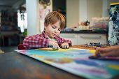Cute Happy Little Boy, Adorable Preschooler, Painting In A Sunny Art Studio. Young Artist At Work poster