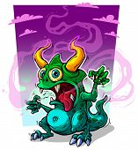 Cartoon Funny Crazy Green Stinky Monster With Horns And Canines. On Violet Background. Halloween Vec poster