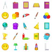 Excellent Worker Icons Set. Cartoon Set Of 25 Excellent Worker Icons For Web Isolated On White Backg poster
