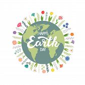The Earth Is Surrounded By Flowers, Happy Earth Day. Vector Illustration On White Isolated Backgroun poster