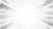 Halftone Gradient Sun Rays Pattern. Abstract Halftone Dots Background. Monochrome Dots Pattern. Pop poster