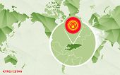 America Centric World Map With Magnified Kyrgyzstan Map. Green Polygonal World Map. poster