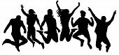 Jumping Friends Youth Background. People Jump Vector Silhouette. Cheerful Man And Woman Isolated. Cr poster