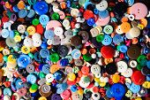 Sewing Buttons, Plastic Buttons, Colorful Buttons Close Up. poster