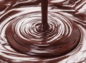 Melted chocolate or chocolate glaze. Macro. poster
