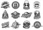Vintage Monochrome Space Emblems Set With Shuttles Alien Showing Peace Sign Ufo Rocket Saturn Planet poster