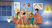 Big Family Spending Time Together Cartoon Vector With Happy Smiling Senior Couple Sitting On Sofa In poster