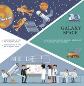 Flat Galaxy Template With Scientists In Observatory Moon Rover Planetarium Astronauts Fix Satellite  poster