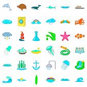 Aqua Icons Set. Cartoon Style Of 36 Aqua Icons For Web Isolated On White Background poster