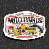 Vector Logo For Auto Parts Store, White Decorative Signboard With Red Car Shape, Lettering For Words poster