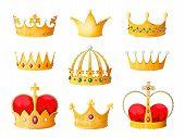 Gold Cartoon Crown. Golden Yellow Emperor Prince Queen Crowns Diamond Coronation Tiara Crowning Emoj poster