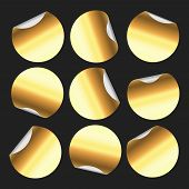 Golden Round Sticker. Circle Stickers, Gold Circular Label Badge And Golden Price Tag Emblem Isolate poster
