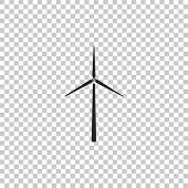 Wind Turbine Icon Isolated On Transparent Background. Wind Generator Sign. Windmill Silhouette. Wind poster